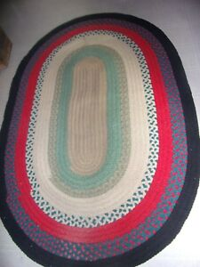 Vintage Handmade Braided Rug Oval 79 L X 54 1 2 Wide Ebay