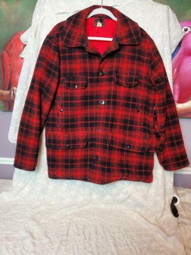 Vintage Johnson Woolen Mills RED BLACK 100% WOOL H