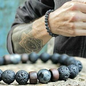 Men-Women-Natural-Stone-8mm-Lava-Rock-Bracelet-Elastic-Yoga-Beads-Bracelet-Gift