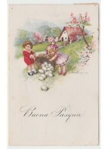 1923-Bertiglia-Tarjeta-Postal-Antigua-Pascua-Ninos-Casa-por-Campo-Cesta-Huevos