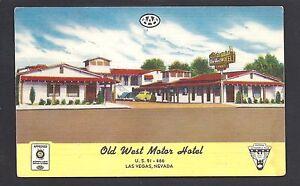 Las Vegas Nevada Nv C1940 Old West Motor Hotel Hwy 91