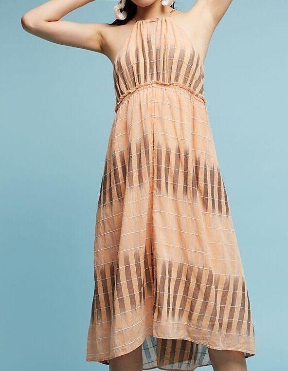 Anthropologie Dress PM Ikat Halter Orange Peach Medium Petite Swing New