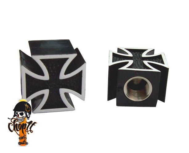Ventilkappen Iron Cross schwarz für Chopper Bobber Hot Rod Muscle Car