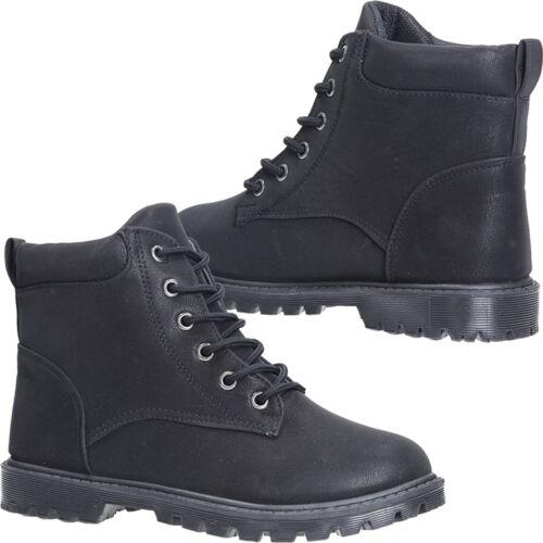 Señora botas con cordones plana negro a la moda cómodo Outdoor