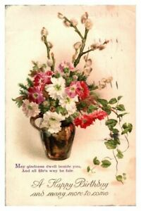 Antique-colour-printed-postcard-card-A-Happy-Birthday-vase-of-flowers