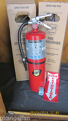 2-NEW CERTIFIED 2017-10lb ABC FIRE EXTINGUISHER RATED 4-A:80-BC W/BRACKET & SIGN