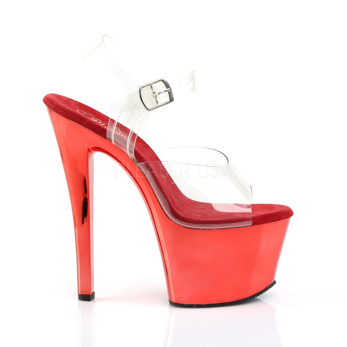 PLEASER Sexy Schuhes Metallic ROT Chrome Platform Pole Dancing 7