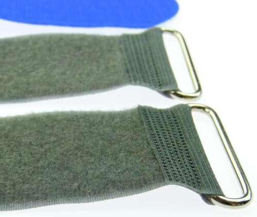 10x Klettband Kabelbinder FK 50 cm x 50 mm blau Klettbänder Kabelklett Metallöse