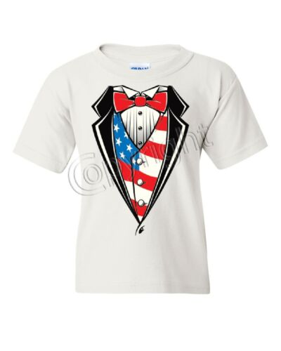 American Flag Tuxedo Youth T-Shirt Funny 4th of July Stars and Stripes Kids Tee