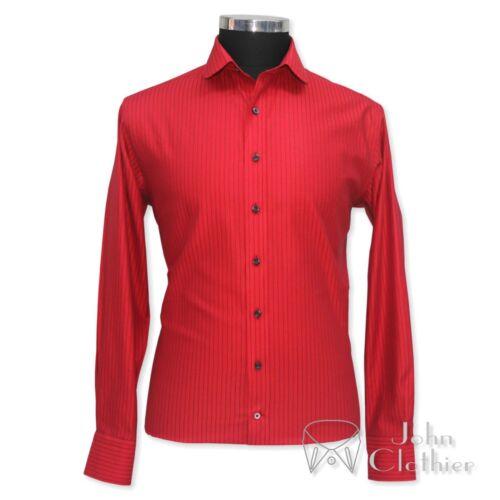 PENNY Uomo Colletto Camicia in cotone righe rosse Club Peaky Blinder collare attorno Gents