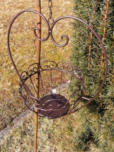 Herz zum Hängen mit Korb Blumenampel Hängeampel Pflanzkorb Metall Pflanzschale