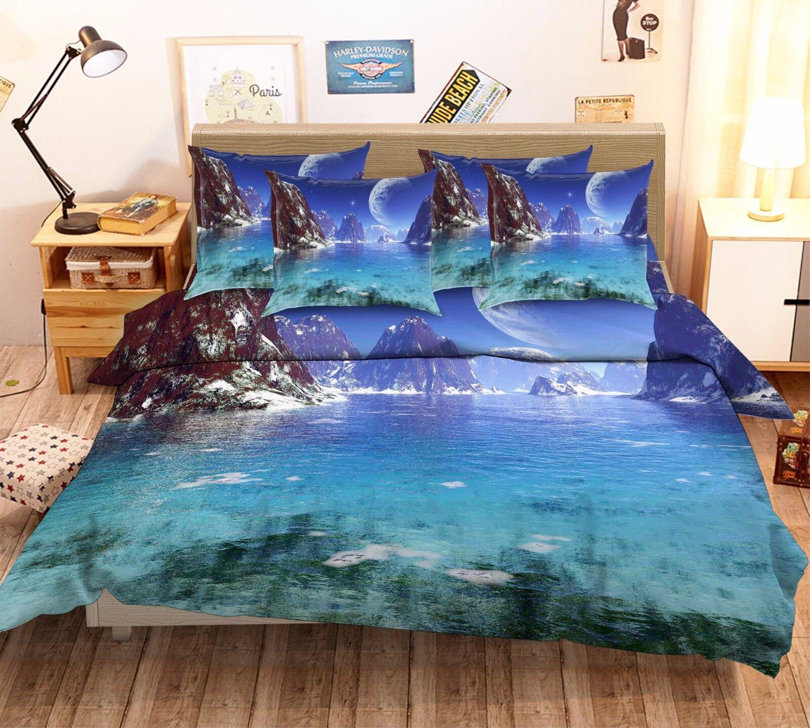 3D Moon Hills Lake 7 Bed Pillowcases Quilt Duvet Cover Set Single Queen AU Lemon