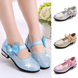 Image is loading Children-Girls-Kids-Princess-Single-Shoes-Flats-Glitter- 7e5ab84438fe