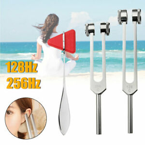 128Hz-256Hz-Aluminium-Medical-Tuning-Fork-Diapason-Et-Marteau-de-Triangle-Set