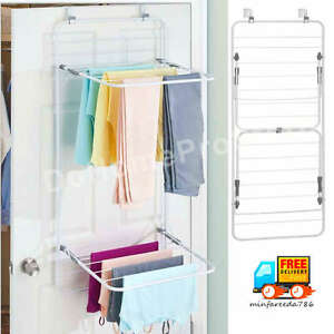 Over Door Laundry Drying Rack Double Shelf Cloth Hanger Fold Down