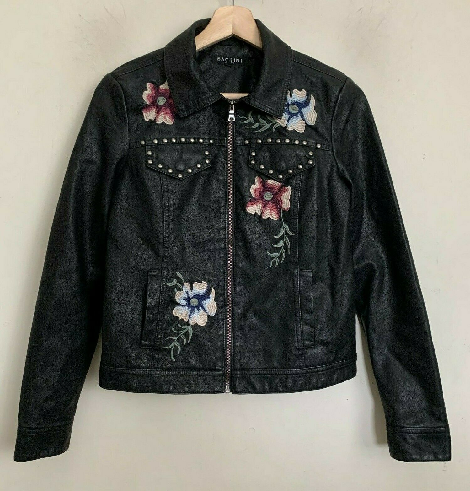 Baccini Jacket Black Faux Leather Embroidered Floral Zip Pockets Lined Size PS