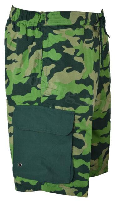 S27 Mens Cargo Camouflage Swim Camo Shorts Beach Print Summer Mesh Lined