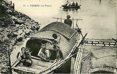 """""""tonkin : Le Passeur"""" Carte Postale Originale Début 1900 (14x9cm)"""