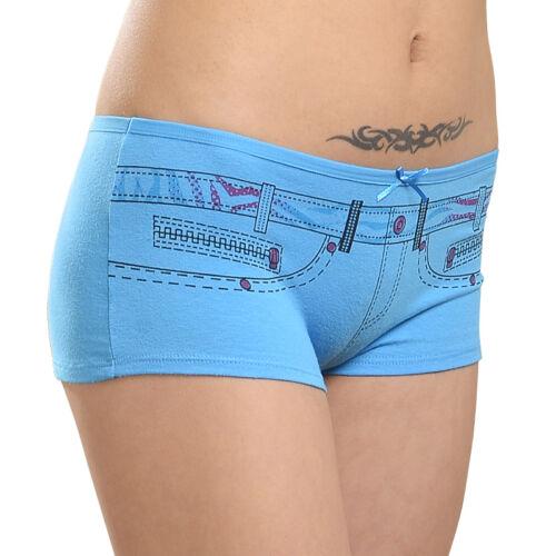 Women Boxers Underwear Denim Print Shorts Cotton Everyday Girls Ladies Knickers