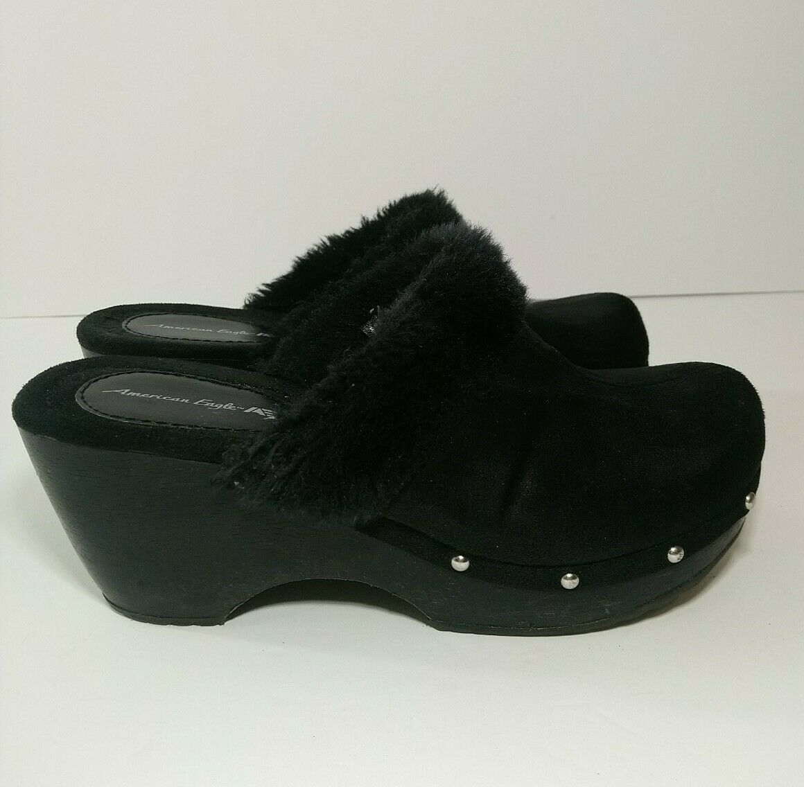 Vintage 90s Y2K American Eagle Chunky Platform Clog Heels Black 8