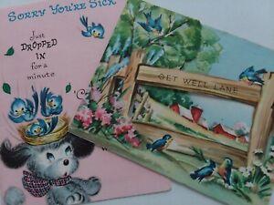 2-Vtg-1950s-PUPPY-Farm-BLUEBIRDS-Get-Well-POPOUT-amp-Peek-Window-GREETING-CARDS