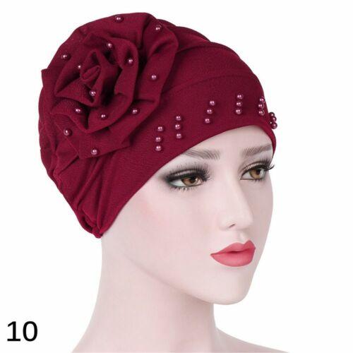 Women Ruffle Wrap India Cap Beading Turban Cancer Chemo Hat Muslim Scarf