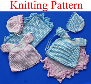Knitting pattern for 12 - 14 inch doll dress, bonnet and ...