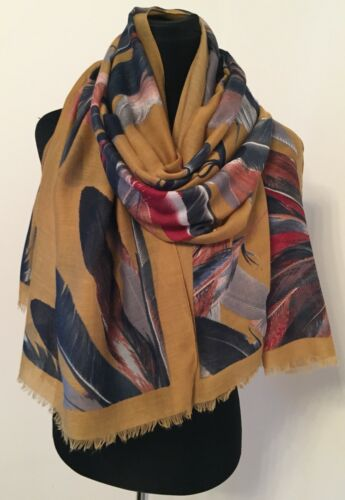 Feathers Mustard Scarf Multi Softest Feel Long Length Oversized Stunning NEW