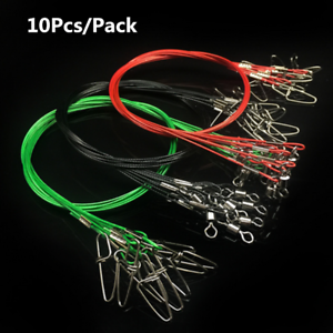 50CM-Fishing-Trace-Lures-Leader-Stainless-Steel-Wire-Fishing-Line-150LB-10Pack