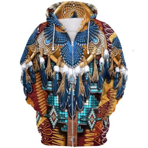Indian Men Hooded 3D Print Casual Shirt Zipper Sweatshirt Sweater