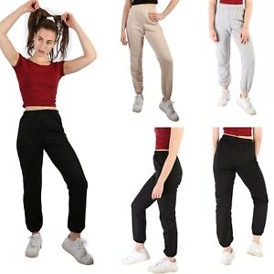 NEW-WOMENS-JOGGING-TRACKSUIT-CUFFED-BOTTOMS-FLEECE-JOG-PANTS-JOGGERS-SIZE-8-14
