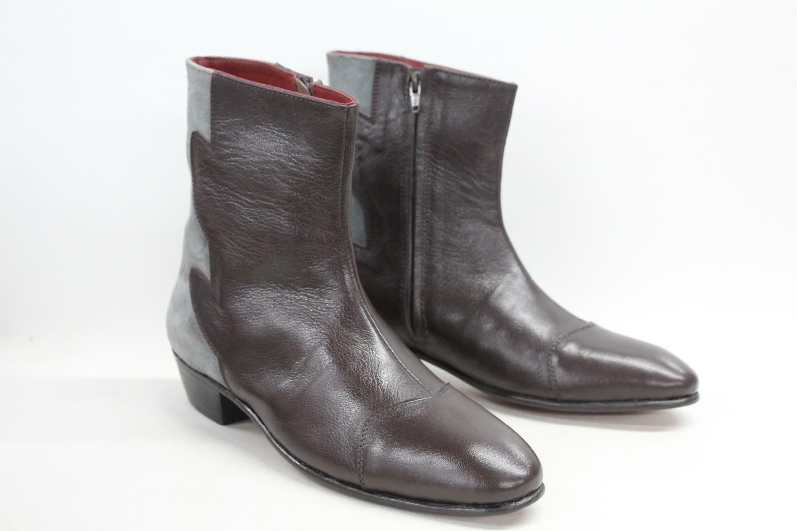 DISTINCT ADVANTAGE Men's Eccentric Brown Leather Pull On Ankle Boots UK8 BNIB