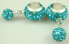Gorgeous Czech Crystals Dangle Bead fit 925 European Charm Bracelet Earrings E2