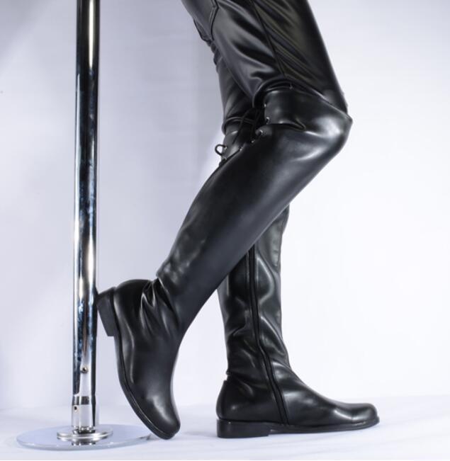 Zapatos Para Hombre Motocicleta Con Cordones Combate Punk sobre la rodilla botas Pole Dance casua Thigh