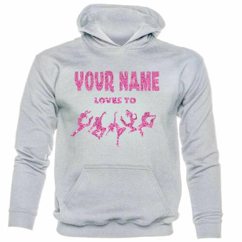 Kids votre nom aime Danse Personnalisé Sweat Capuche Rose Paillettes DANSE écoles