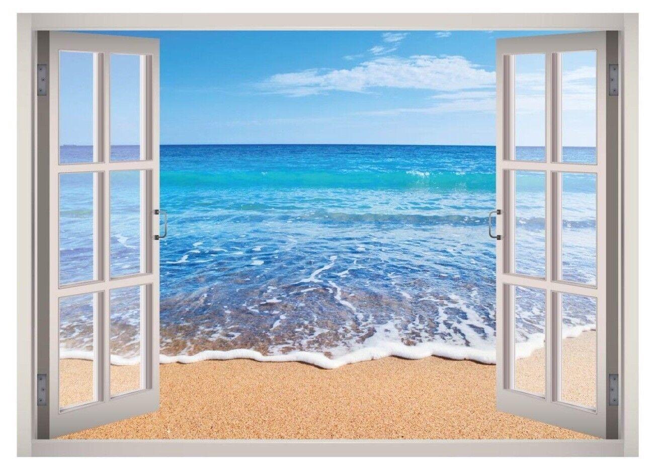Island Beach View Window 3D Wand Decal Kunst Mural Home Decor Canvas Vinyl W07