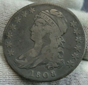 1808 Capped Bust Half Dollar 50 Cents - Nice Coin Free Shipping (9815)