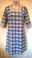 VERSACE 1969 blue/grey soft cotton/lace checked dress Size 36 UK 8 BNWT