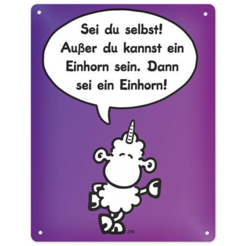"""Außer du kannst ein Einhorn sein../"""" Sheepworld Blechschild 44957 /""""Sei du selbst"""