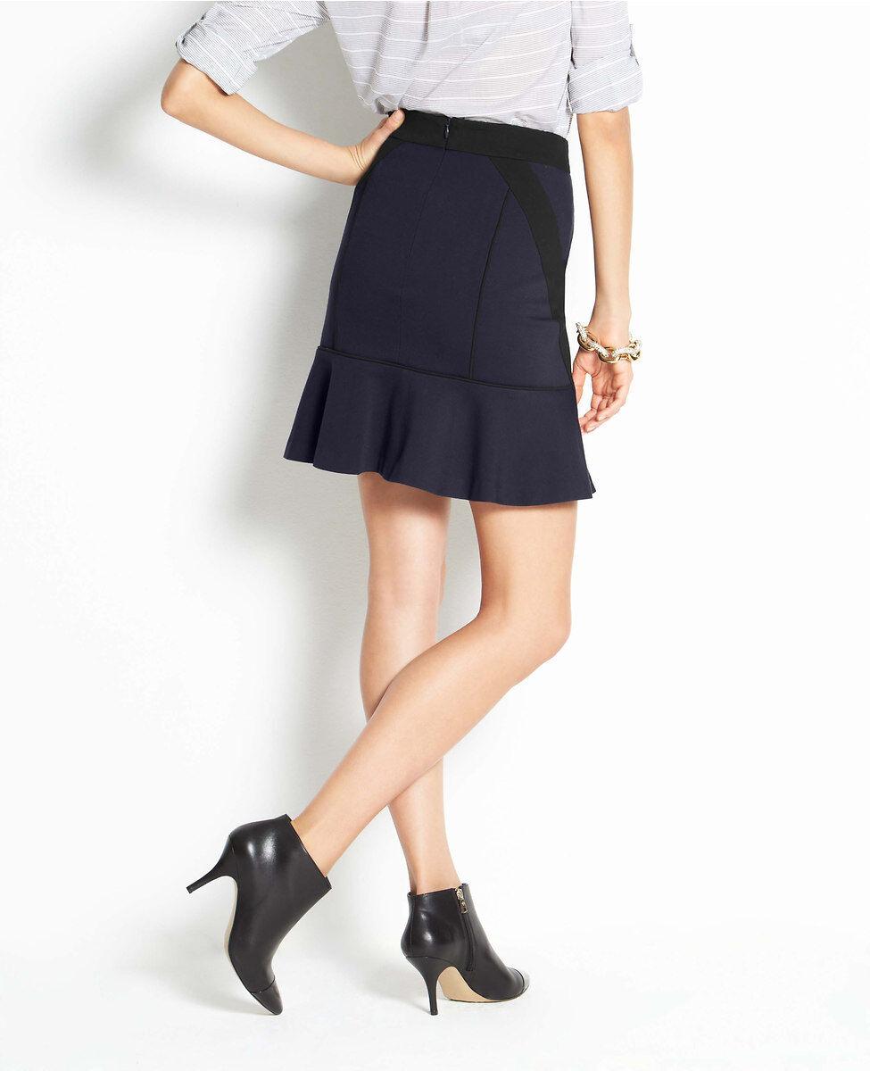 Ann Taylor Seamed Flounce Skirt Size 12, 14 NWT Dark Sky color