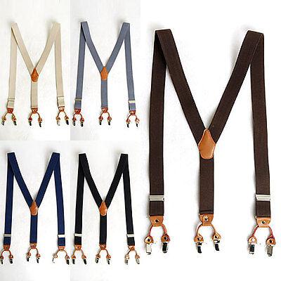 "Mens Elastic Leather Suspenders Adjustable Braces Clip-On 1.4"" Width 8 Colors"