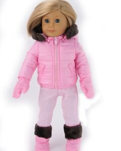 Pink-Snowsuit-4pc-Set-Fits-18-034-American-Girl-Doll-Clothes
