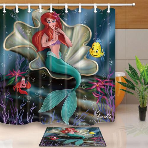 Cartoon Mermaid Red Long Hair Ocean Animal Waterproof Bathroom Bath Curtain Rugs