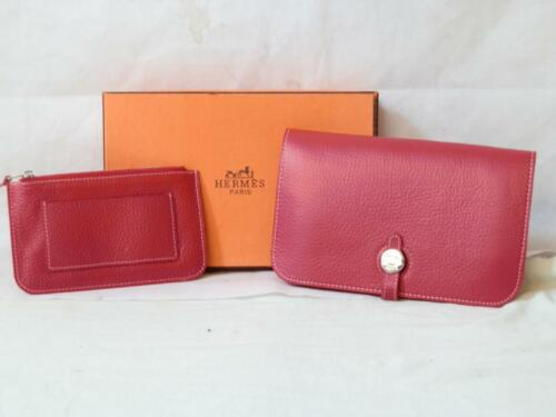 Paris Wallet Change Dogon Ladies Purse Hermes Combined Calfskin Red Togo With FqZ5R0w