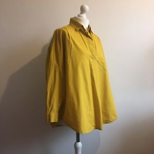 French-Connection-Yellow-Ochre-Cotton-Shirt-Top-Medium-UK-12