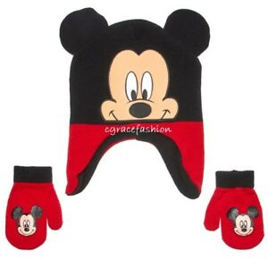 NWT Disney Mickey Mouse Face Boy Beanie 3D Ear Trapper Winter Hat ... 8394daff6923