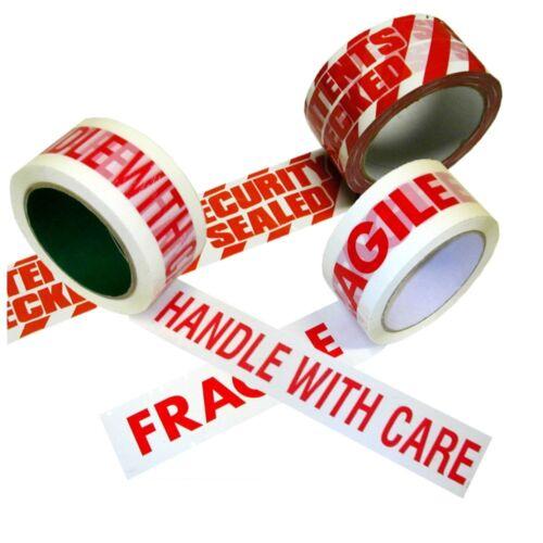 Imprimé Parcel Packing Bande 50 mm x 66 m Fragile Handle With Care contenu contrôlé