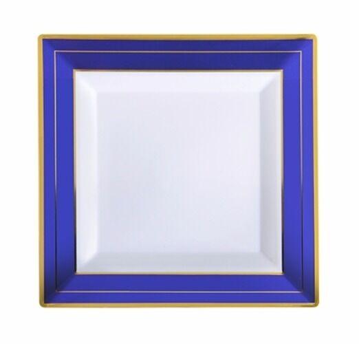 120 7.25  Square Disposable Salad-Buffet Plates Weiß-Blau-Gold