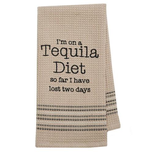 Mona B Funny Novelty Cotton Kitchen Dishtowel Bar Towel Tequila Diet