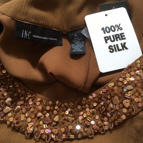Brown Beaded Top Nwt Inc Sz Sleeveless Women's International 4 Silk Concepts AqqHY